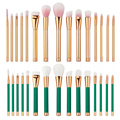 Profissional 15 Pcs Pincéis de Maquiagem Conjunto de Cosméticos Corretivo Em Pó Blush Rosa Punho de Ouro E Verde Para Escolher