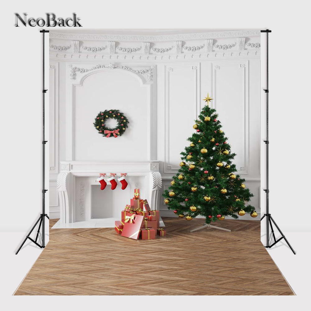 NeoBack    New 5X7ft  baby Christmas gifts backdrop  Printed vinyl fireplace photography background photo studio A1145 thin vinyl vintage book shelf backdrop book case library book store printed fabric photography background f 2686