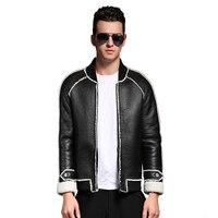 Fashion Real Sheep Fur Men Stand Collar Short Casual Jacket Quality Sheep Sheraling Male Winter Coat
