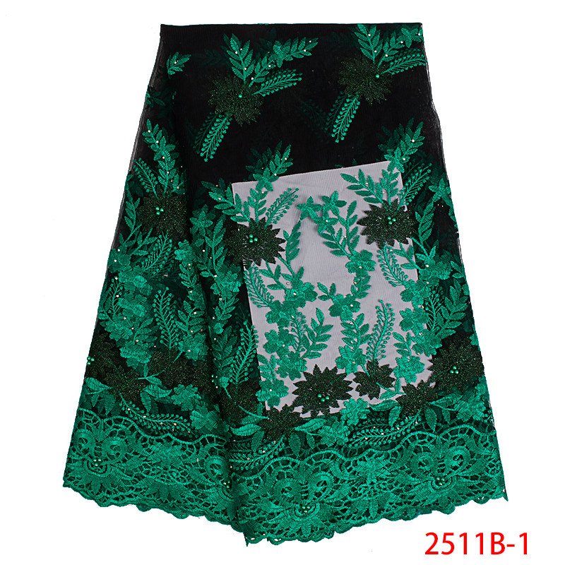 French Lace Fabric High Quality Embroidered African Tulle Lace Fabric With Beads Nigerian Laces Fabrics For Wedding KS2511B-1