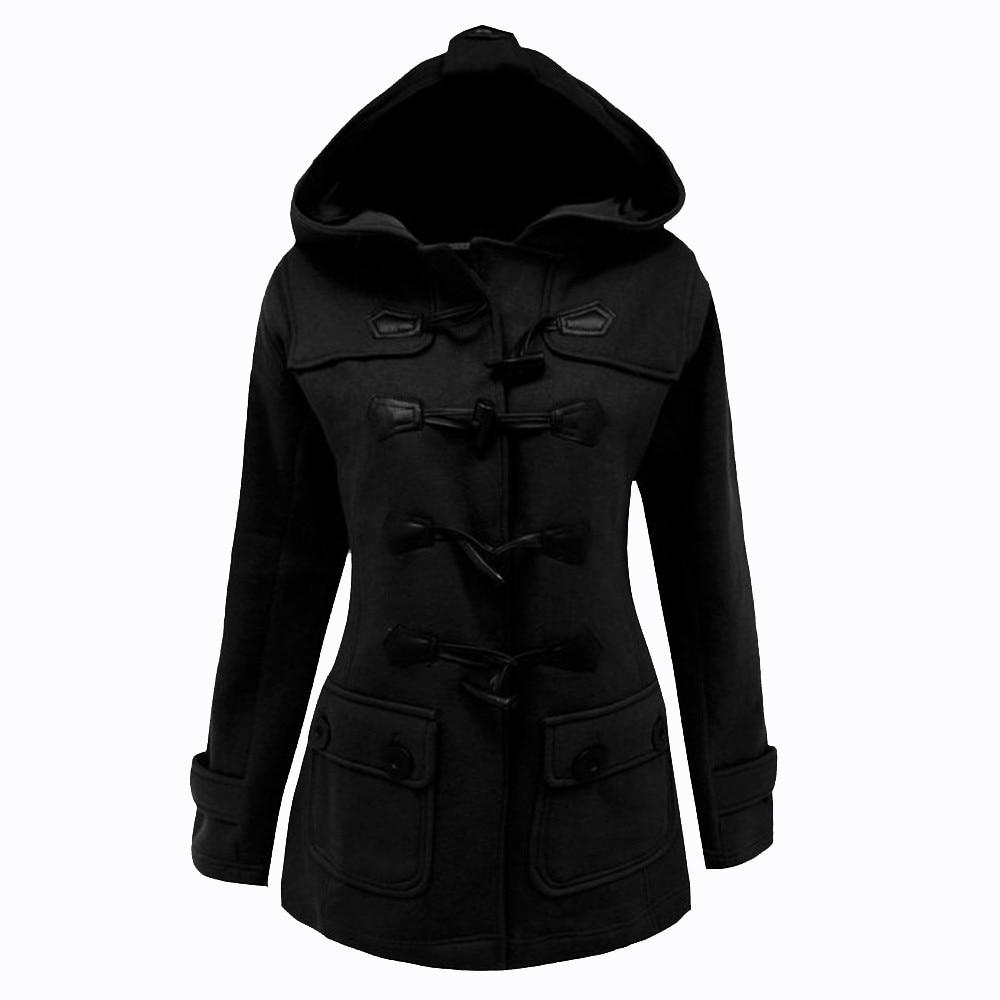 Fashion women coats casual womens long sleeve horn button hooded coat ladies sweatshirt jacket coats with button roupas feminina