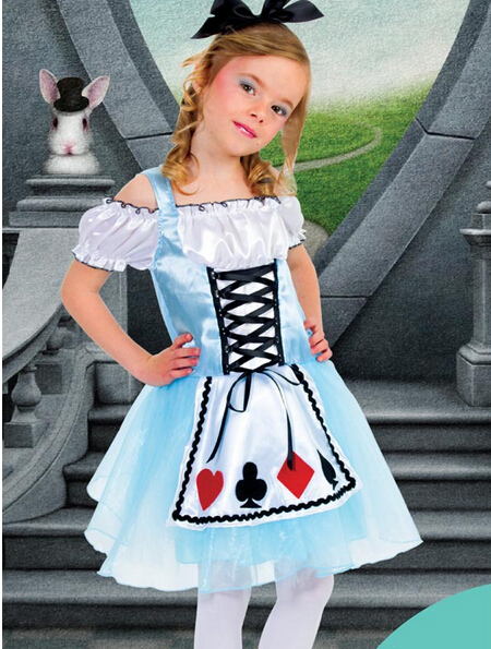 Cute Children Halloween Party Costume Alice in Wonderland Girls Dress Kids Performance Clothes Maid Cosplay Outfit