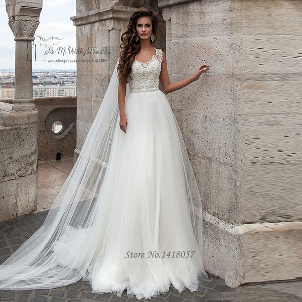 Russian Style White Wedding Dresses 2016 Lace Wedding Gowns A Line ...