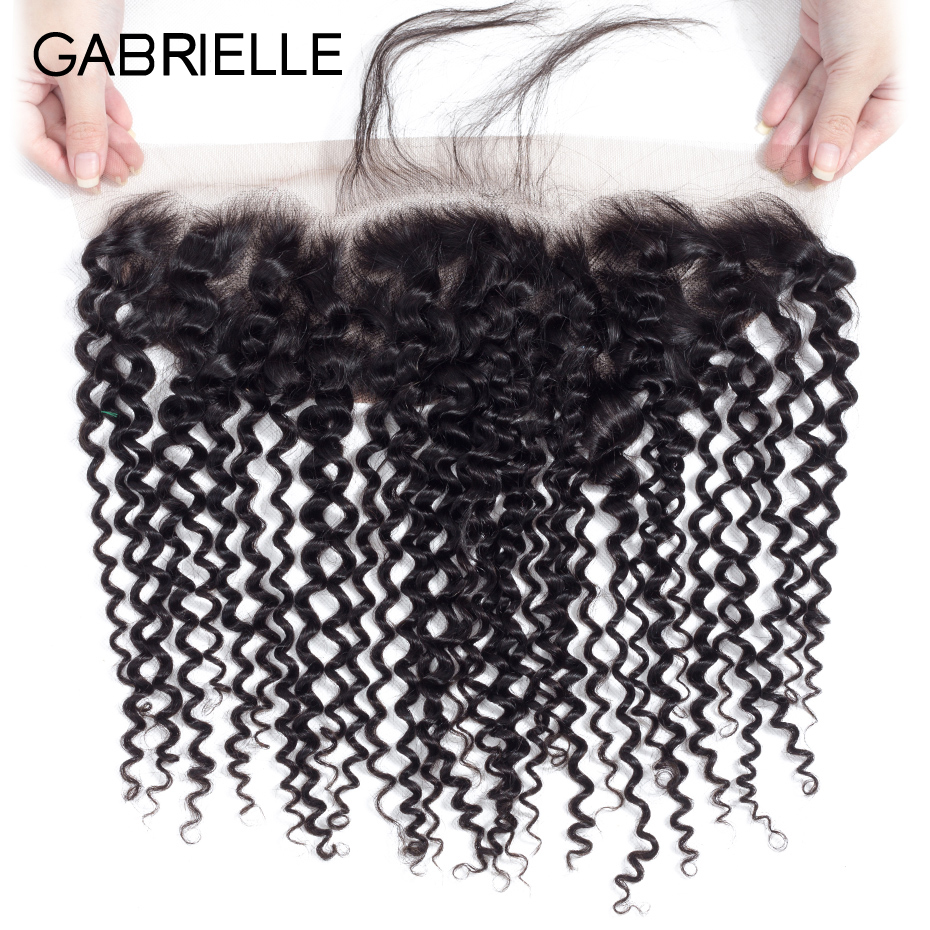 Gabrielle Closure Human-Hair Lace-Frontal Kinky-Curly Indian Natural-Color 8-22inch Hair-13x4
