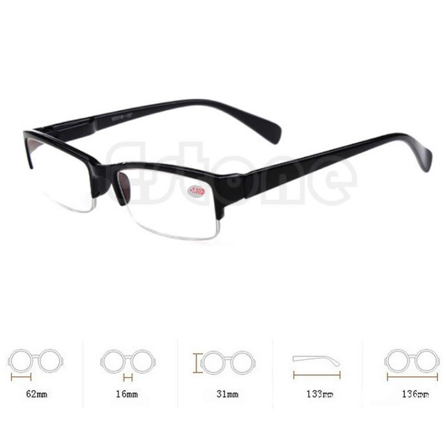 New Black Frames Semi Rimless Eyeglass Myopia Glasses 1 15 2 25 3