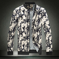 Цветок Куртка Мужчины 2016 горячие продажа Осень Мода Новый Тонкий цветочный Печатных Куртка Повседневная Плюс Размер Куртки Пальто Молния М-4XL