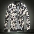 Flower Jacket Men 2016 hot sale Autumn Fashion New Slim Floral Printed Jacket Men Casual Plus Size Jackets Zipper Coat M-4XL
