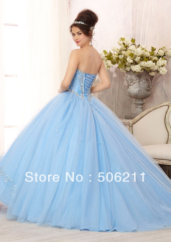 b256858183 Glamorous Silver Sequins Beading Layered Tulle Skirt Ball Gowns Light Sky  Blue Teenage Quinceanera Dresses Formal Gown ED181-in Quinceanera Dresses  from ...