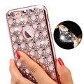 De lujo de bling del brillo del oro chapado de diamantes caja del teléfono para iphone 7 más iphone 6 6 s plus suave tpu se 5 5S cubierta