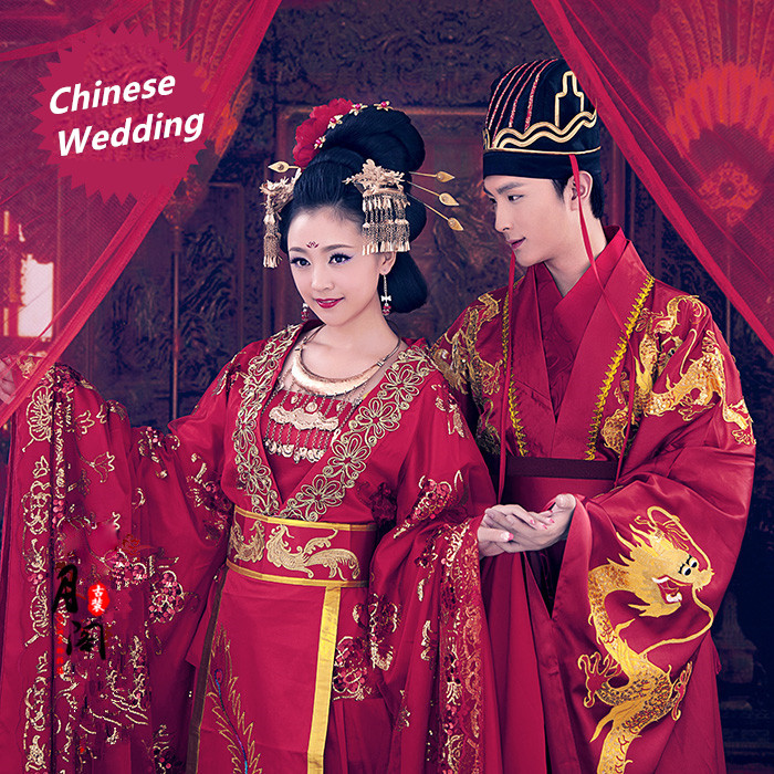 Chinese Style Hanfu lover Red Wedding Dress Ancient China Clothing Tang Dynasty glorious film TV same genre Couple Costume