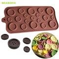 Кнопка в форме 3D силиконовые формы DIY Фондант формы для выпечки инструмент Шоколадное Печенье Кондитерские конфеты желе Декор Кухня инструмент разные цвета - фото