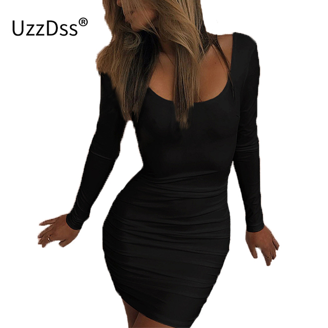 5709ad33425 UZZDSS 2018 New Arrival Spring Long Sleeve Dress Women Sexy Low Cut V Neck  Backless Sheath Bodycon Party Dresses Black White