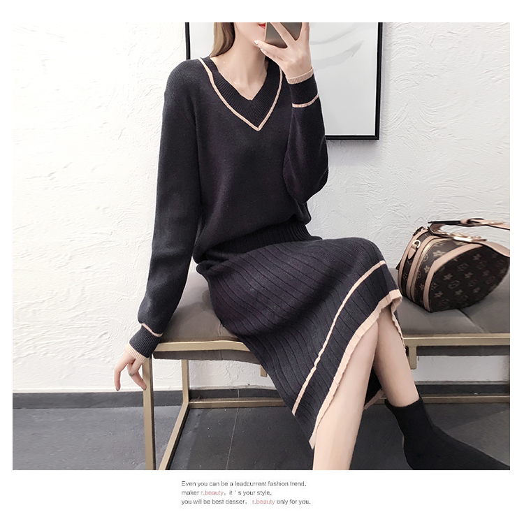 Autumn Winter Knitted Two Piece Sets Outfits Women V-neck Sweater And Skirt Suits Tracksuits Elegant Casual Fashion 2 Piece Sets 70
