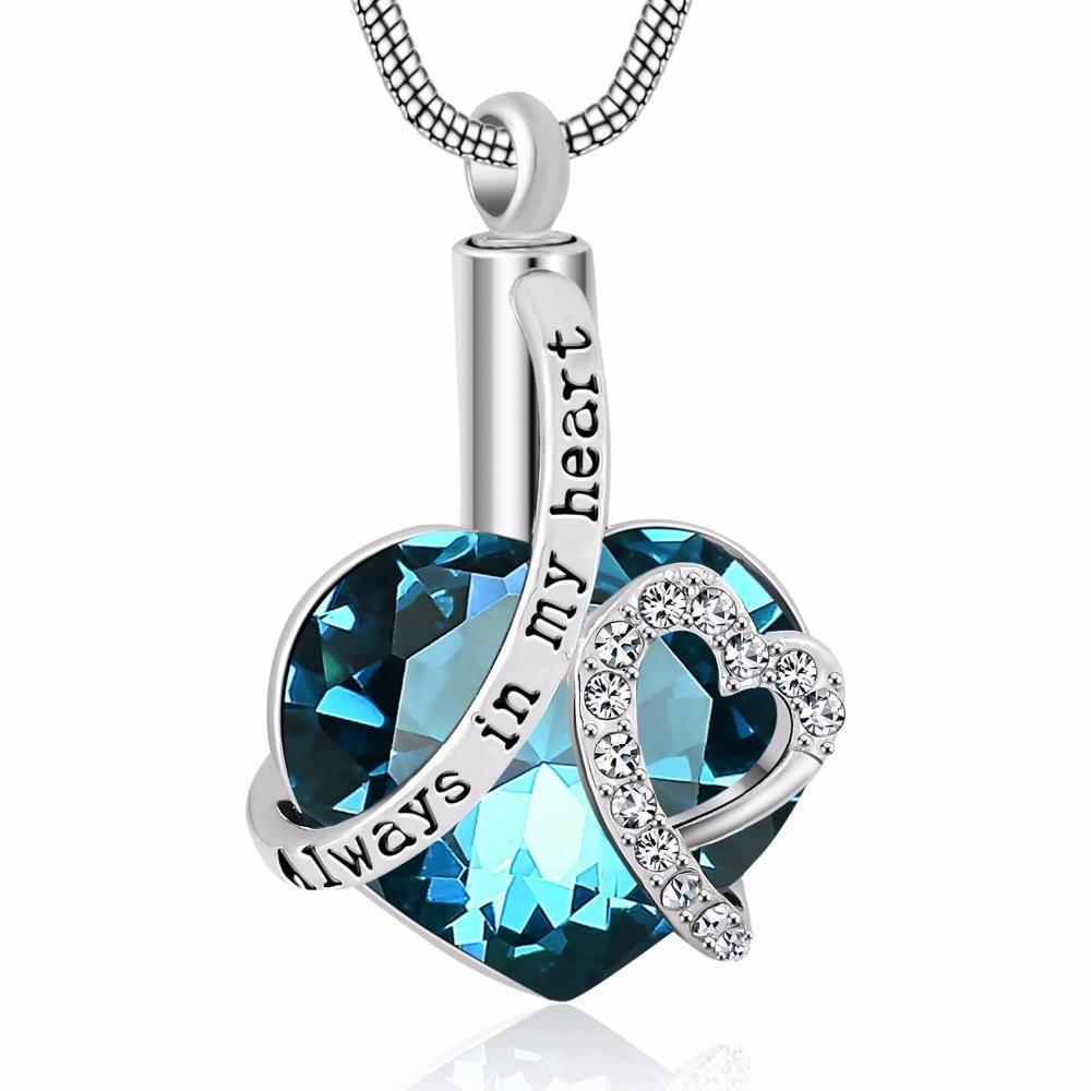 Sempre em meu coração parafuso Medalhão Coração cinzas urn cremação memorial colar birthstone jóias pingente lembrança