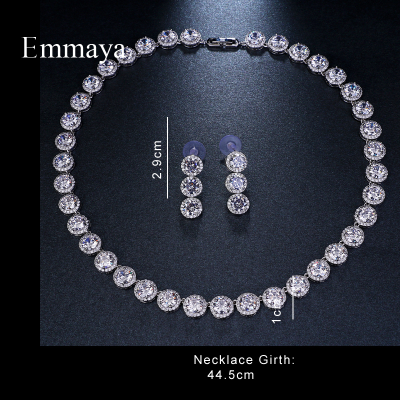 Emmaya Wedding-Jewelry-Sets Gift Cubic-Zircon Brides Gold-Color White Brand Round Gorgeous