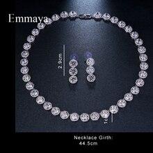 Emmaya marka wspaniała okrągła biżuteria z białego złota kolor AAA sześcienne zestawy biżuterii ślubnej z cyrkonią dla miłośników narzeczonych popularna biżuteria prezent