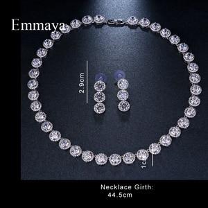 Image 1 - Emmaya marka wspaniała okrągła biżuteria z białego złota kolor AAA sześcienne zestawy biżuterii ślubnej z cyrkonią dla miłośników narzeczonych popularna biżuteria prezent