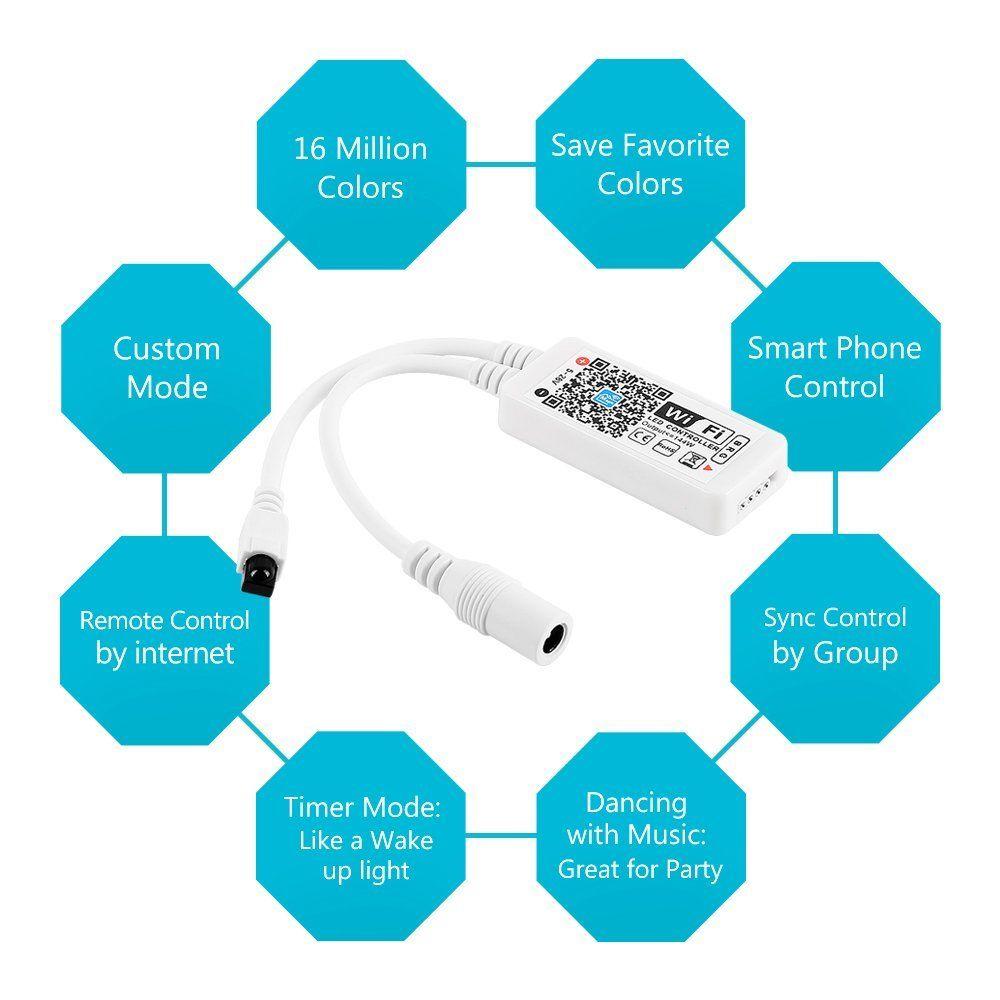 WiFi RGB Strip light controller Syc Alexa Google Home Smart Phone 5M ...