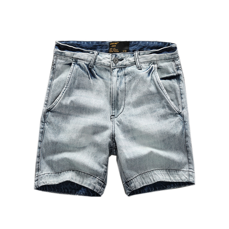 2019 New Denim Shorts Men's Summer Thin Short Overalls Washed Old Straight Pants Mid Waist Casual Slim Men's Short Jeans