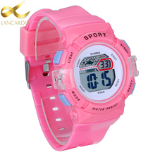 Lancardo 2017 Pink Color Children Watches Kids Style LED Digital Girl Quartz Watch Army Sports Wristwatches Christmas Gift