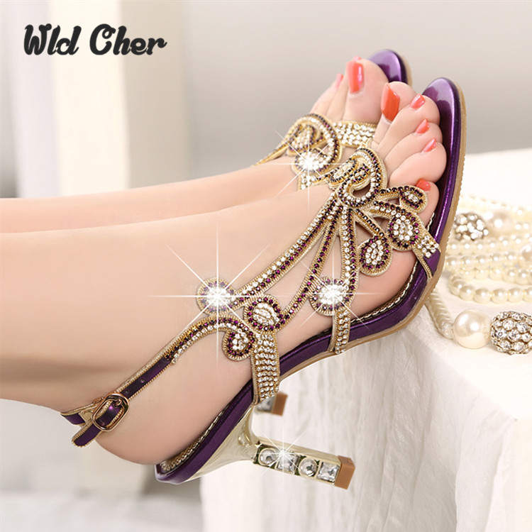 ФОТО Genuine leather high-heeled diamond female sandals 2016 spring and summer rhinestone women's sandals thin heels sexy open toe