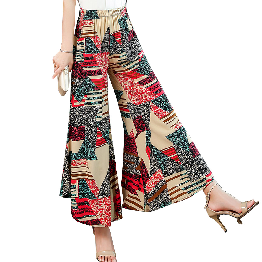 Women Clothes 2019 Summer Flat Pants Ankle-length Pant Loose Print Elastic Waist Wide Leg Pants Female Plus Size 4XL