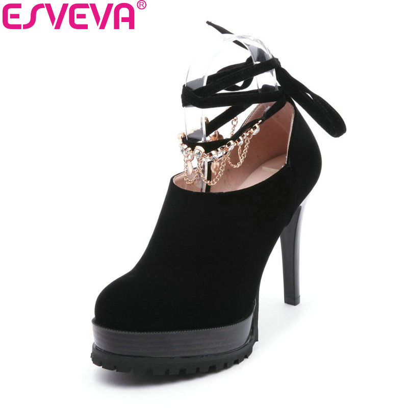 ESVEVA 2018 Women Pumps All Match Shoes Round Toe Suede Lace Up Thin High Heels Platform 3cm Elegant Lades Shoes Size 34-43 taoffen women high heels shoes women thin heeled pumps round toe shoes women platform weeding party sexy footwear size 34 39