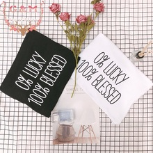 Casual Fashion Tumblr Graphic 0 LUCKY 100 BLESSED T Shirt Summer Poleras Mujer Befree