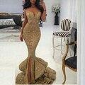 Nuevo Diseñador 2017 de La Sirena de Oro Vestido de Fiesta Con Hendidura de Encaje Apliques Espalda Abierta de Las Lentejuelas Vestidos de Noche Del Desfile de Vestidos de Bling Frontal