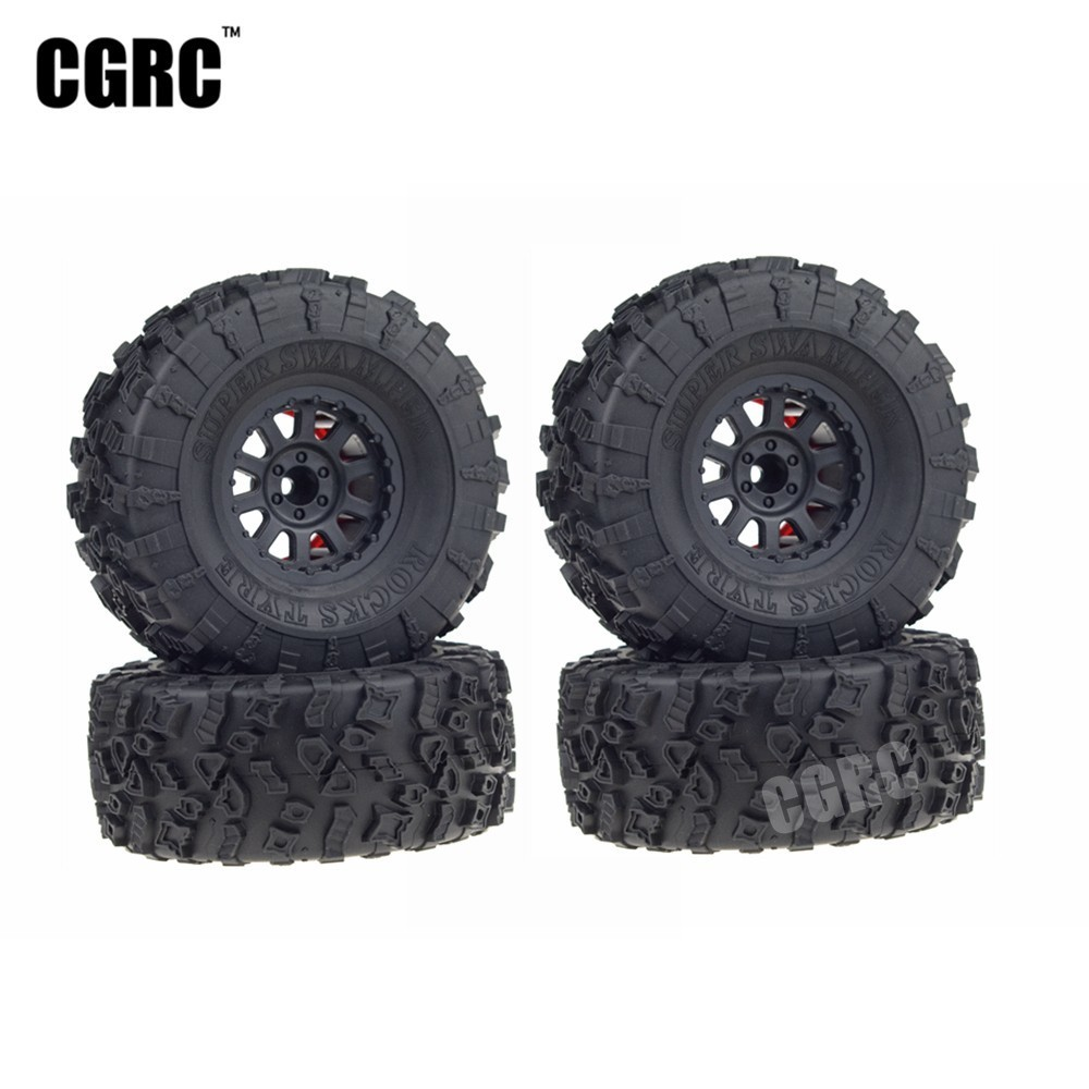 4PCS 2.2inch Rubber Tires & 2.2inch Plastic Beadlock Wheel Rim for 1/10 RC Rock Crawler Car Axial SCX10 Wraith RR10 Yeti 2 2inch wheel rims for wraith rc4wd 8 spoke alloy beadlock 1 10 crawler car 2 2 wraith wheels high quality