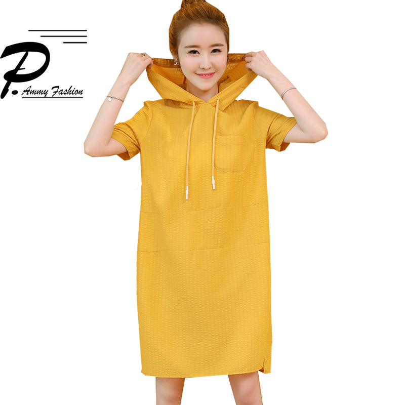 Summer Hooded Dresses Women Plus Size Short Sleeves Oversized Jumper Dress Ladies Hoodies Casual Solid Color Loose Tunic Vestido