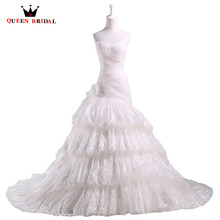 QUEEN BRIDAL A line Sweetheart Ruffle Tulle Romantic Elegant Vintage Wedding Dresses font b robe b