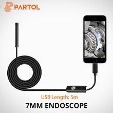 Partol 7 мм объектив Мини жесткая Инспекционная камера змеиная трубка Водонепроницаемый эндоскоп бороскоп 6 светодиодный для Android телефон ПК 5 м USB кабель