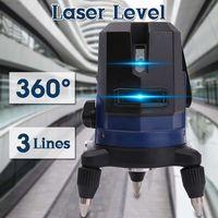 360 Rotary Slash Function 3 Line Blue Cross Beam Line 3D Self Leveling Vertical Horizontal Laser Level Measuring Indoor/Outdoor
