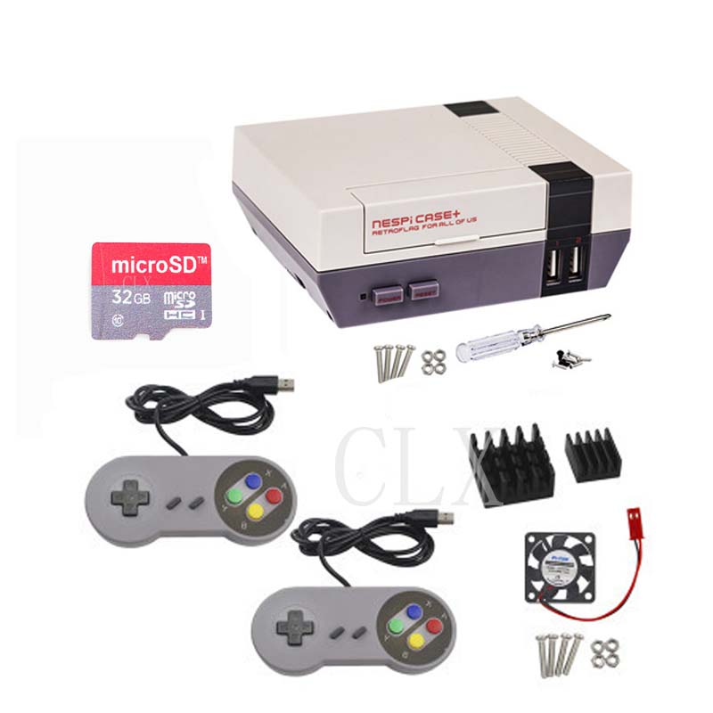 Raspberry Pi NESPi Case+(plus) NES Retroflag Box + Fan + 16/32G SD Card + Game Pad Controller+Heat Sink For Raspberry Pi 3
