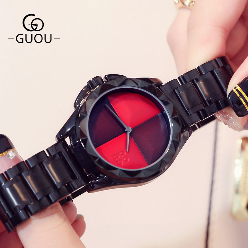 GUOU Brand Ladies Creative Women Watches Black Steel Band Quartz Wristwatches Women Dress Clock Fashion Watch Saat Montre Femme stylish tree pattern photo wall sticker for livingroom bedroom decoration