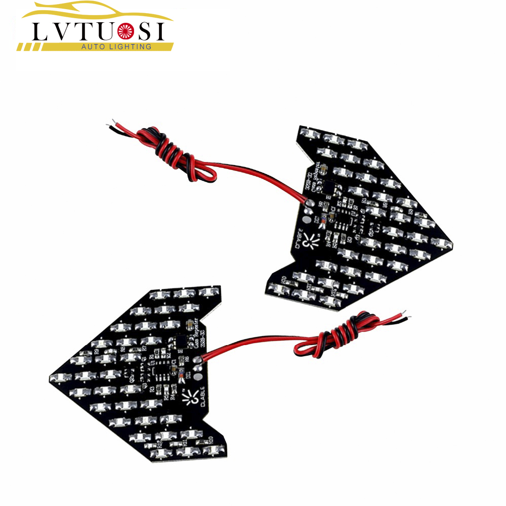 LVTUSI  2pcs 33 SMD LED Arrow Panels Car Side Mirror Turn Signal Indicator Lights Sequential Yellow/Red/Blue/Green/White BE
