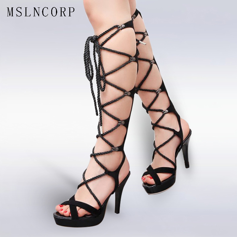 цены plus size 34-44 Sexy Gladiator Knee High Heels Women Sandals Boots New Cross Lace Up Thigh High Boots Platform Rome Style Shoes