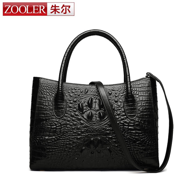 ZOOLER Luxury Handbag Women Business Bag Design Crocodile Genuine Leather Bag Women