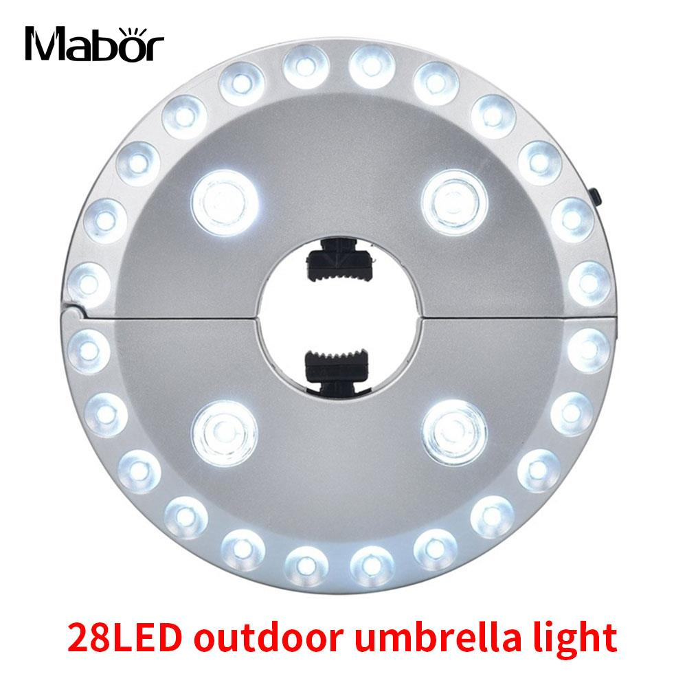 Umbrella Night Lamp Portable Lantern 28LED Outdoor Silver Hiking Umbrella Pole Lamp Sun Umbrella Patio Yard