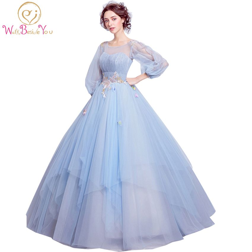 100% Real Photo Sky Blue Vestido De Formatura Imported Party Dress Plus Size Long Three Quarter Sleeve Keyhole Back Prom Dresses