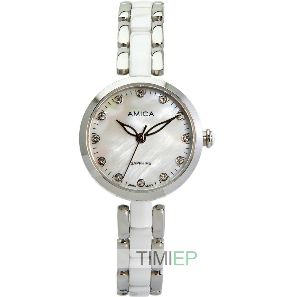 Amica Women's D-Ceramics Quartz Sapphire Silver Tone Stainless Steel Wrist Watches A-1-1 amica women s d ceramics quartz sapphire silver tone stainless steel wrist watches a 1 5