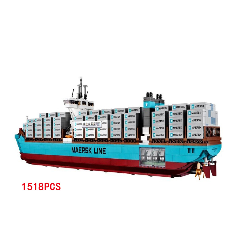 Hot Creator builder Maersk Line Triple-E Cargo ship building block model lepine bricks 10241 educational toys for children gifts lepin 22002 1518pcs the maersk cargo container ship set educational building blocks bricks model toys compatible legoed 10241