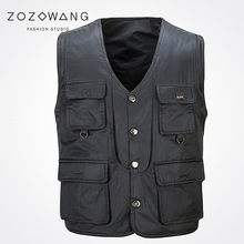 2017 Zozowang new Single Breasted solid casual loose fashion waist men plus size 3XL Multi-pocket spring autumn vest