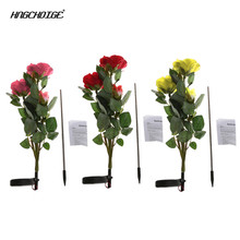 HNGCHOIGE Solar Powered 3 LED Rose Flower Garden Night Light Lamp Outdoor Party Decor