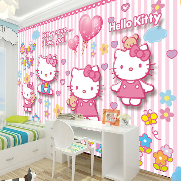 Accessories Hello Kitty Bedroom Bedroom Colors With Dark Furniture Black White Silver Bedroom Master Bedroom Cupboards Designs: Free Shipping Hellokitty Large Murals Of Children Room