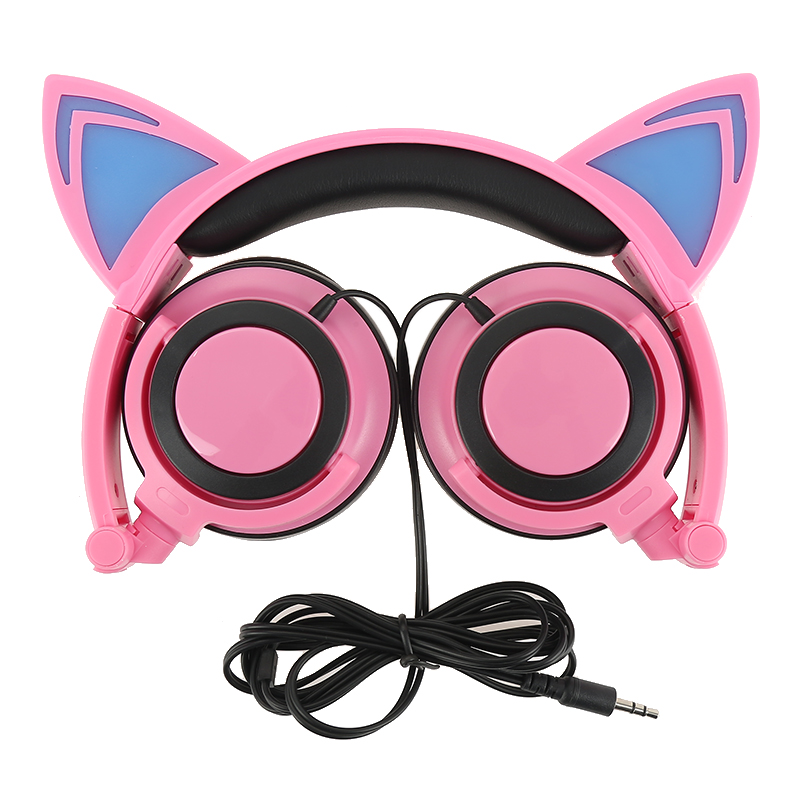 Foldable Flashing Glowing Cat Ear Headphones Wired Video Gaming Headset Hifi Stereo Mp3 Music Player Walkman Earphone portable 3 5 jack wired headphone ear shaped cute foldable stereo headset sport led light gamer games headphones