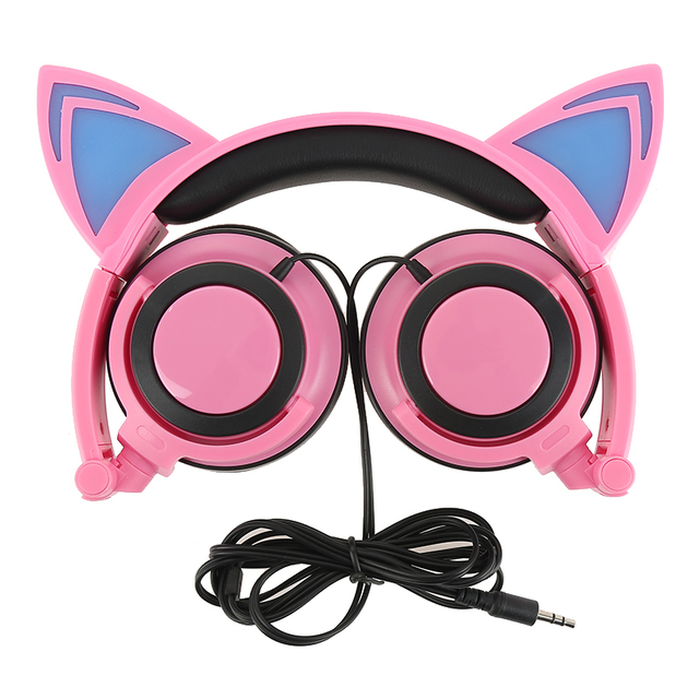 Pieghevole Lampeggiante Ardore Cat Ear Cuffie Wired Video Gaming Headset  Hifi Stereo Mp3 Lettore Musicale Walkman 5552958d8908
