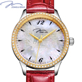 JONAS&VERUS 2016 Brand Luxury Quartz Womens Watch Red Genuine Leather Band Natural Pearl Sapphire Crystal Gold Watch Gift Hours
