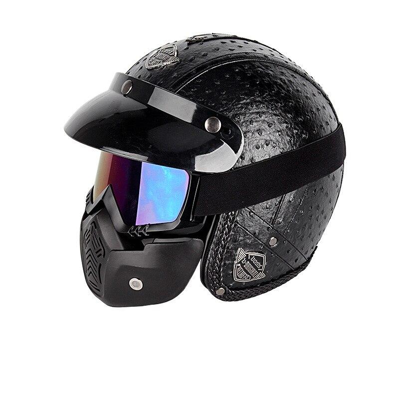 PU Leather Motorcycle Helmet Vintage Half Motocross Hat Baseball Cap Newest